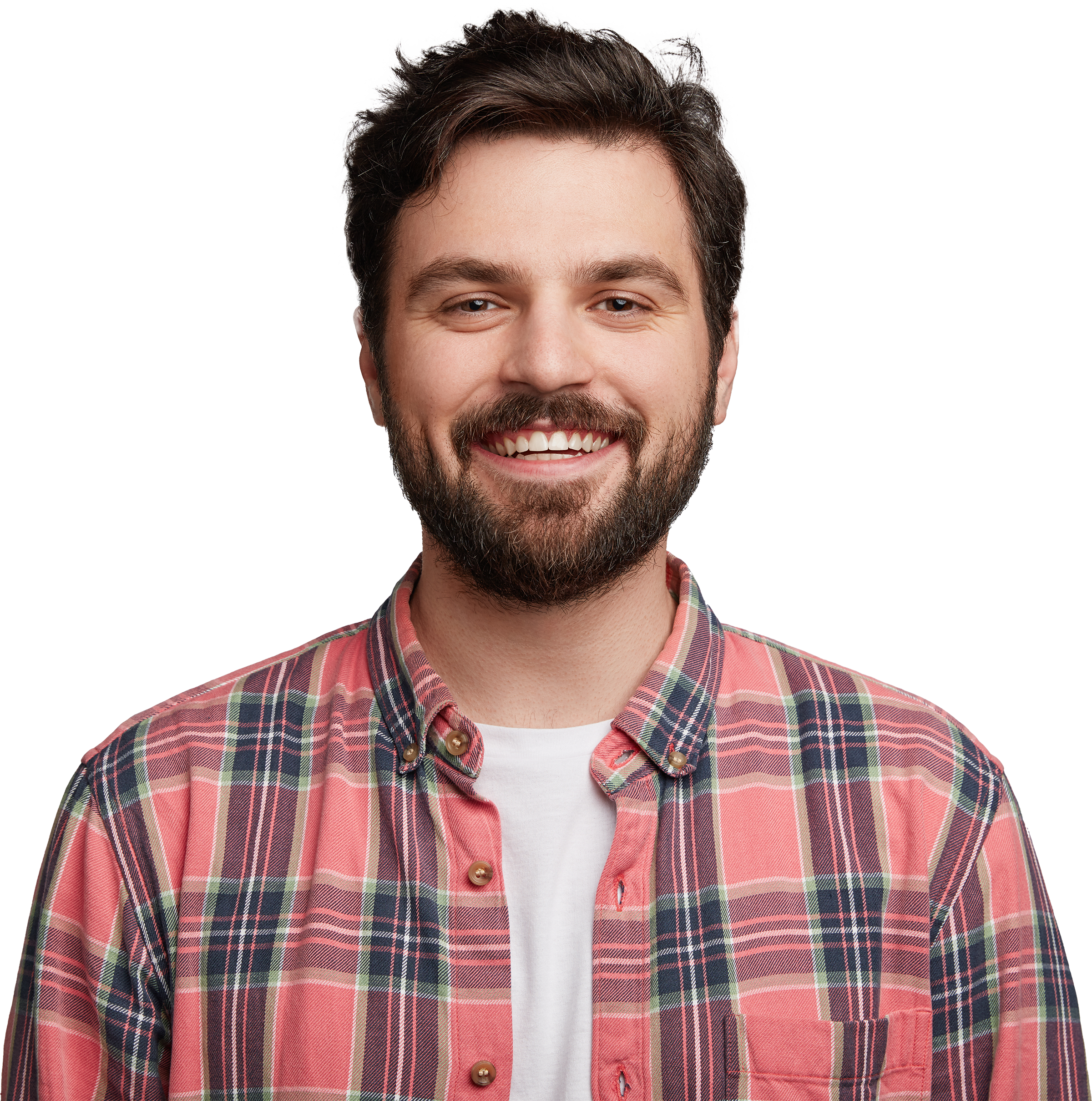 About banner - casual smiling man